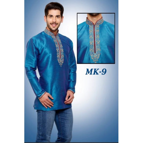 Mens Designer Embroidered Short Kurta. - Sarang