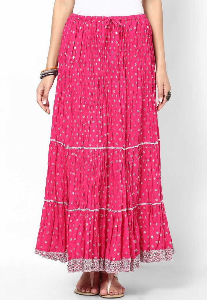 Rajasthani Print Girls Skirt-Pink