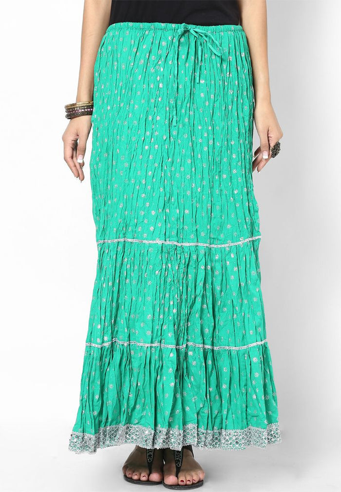 Rajasthani Print Girls Skirt-Green