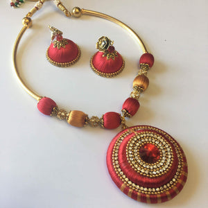 Handmade Silk Thread Necklace Set - Sarang