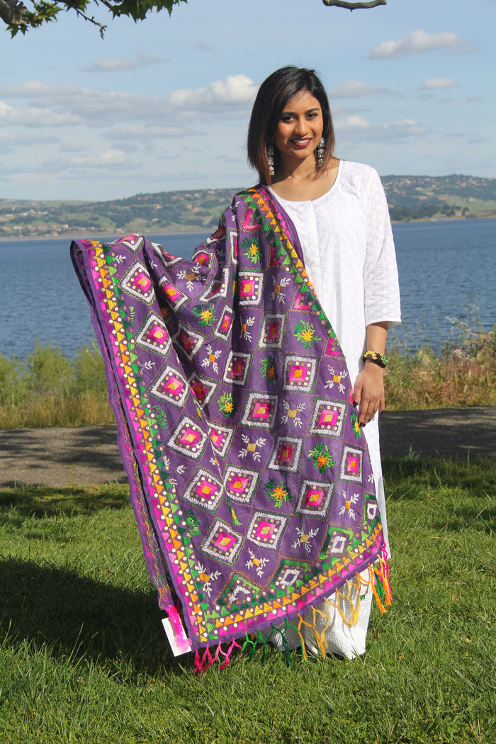 """PHULKARI"" HAND EMBROIDERED DUPATTA"