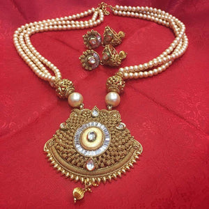 Traditional Indian Pearl And Crystal Pendant Set Necklace - Sarang