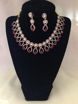 Semi Diamond Necklace Set - Pink - Sarang