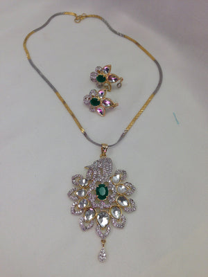 Semi Diamond Pendant Set - Silver - Sarang
