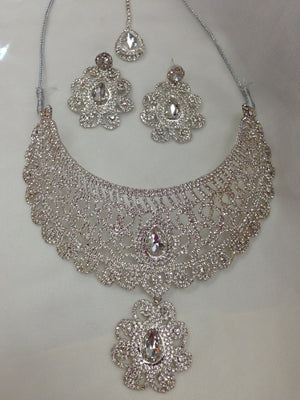 Semi Diamond Bridal Set - Silver - Sarang