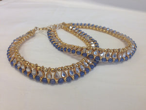 Gold Tone /Plated Anklet / Payal With White & Blue Stone - Sarang
