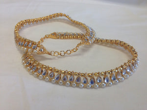 Gold Tone /Plated Anklet / Payal With Pearl & White Stone - Sarang