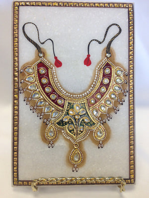 Necklace Design On Marble Plate - 1