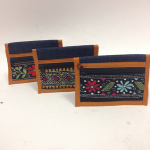 Mini Denim embroidered clutches