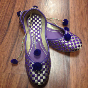 Embroidery Juti with Laces - Purple and Silver