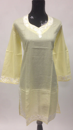 Kashmiri Embroidered Long Cotton Kurti - Sarang