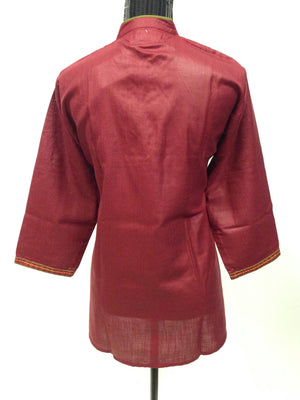 Tussar Silk Kurti with Hand Embroidery- Maroon - Sarang
