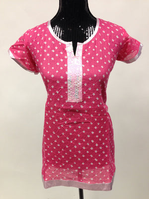 Bandhani  Cotton Kurti - Light Pink - Sarang
