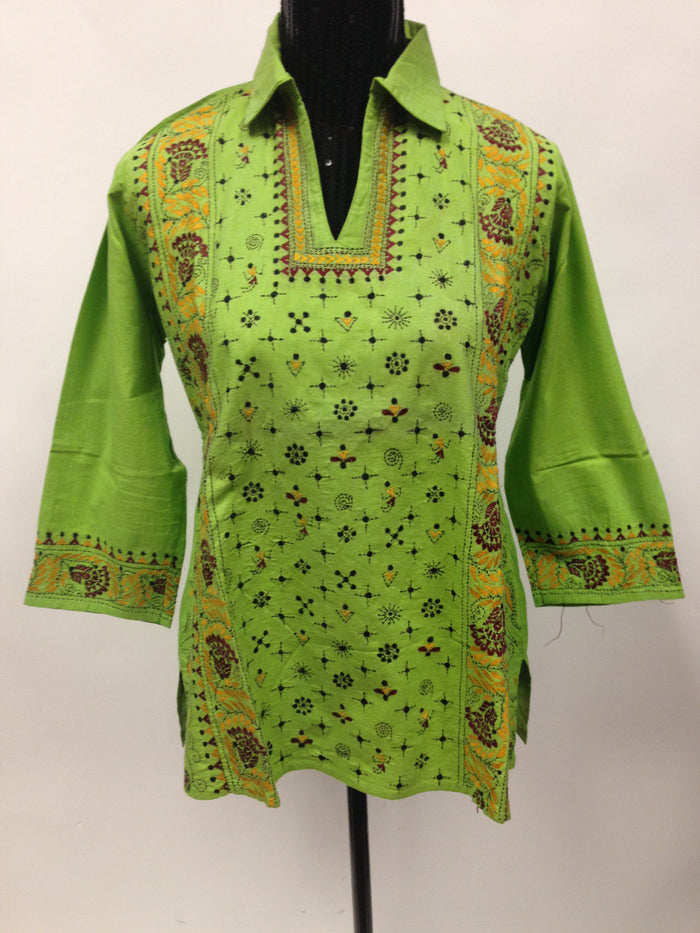 Cotton kurti with Hand Embroidery - Green