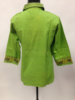 Cotton kurti with Hand Embroidery - Green - Sarang