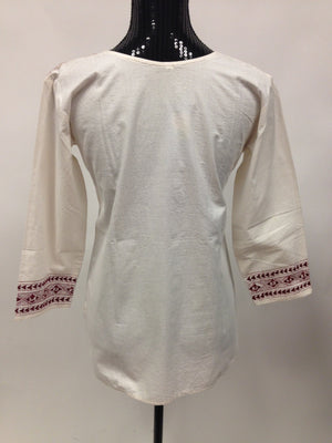 Cotton Hand Embroidered kurta - White - Sarang