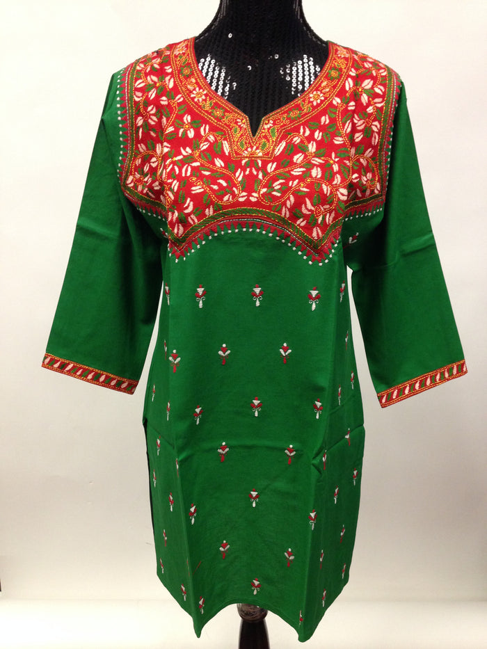 Embroidered Cotton Kurti-Green