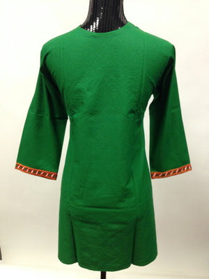 Embroidered Cotton Kurti-Green - Sarang