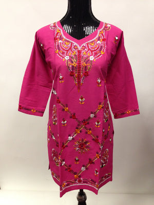 Hand embroidered Kurta  - Pink - Sarang