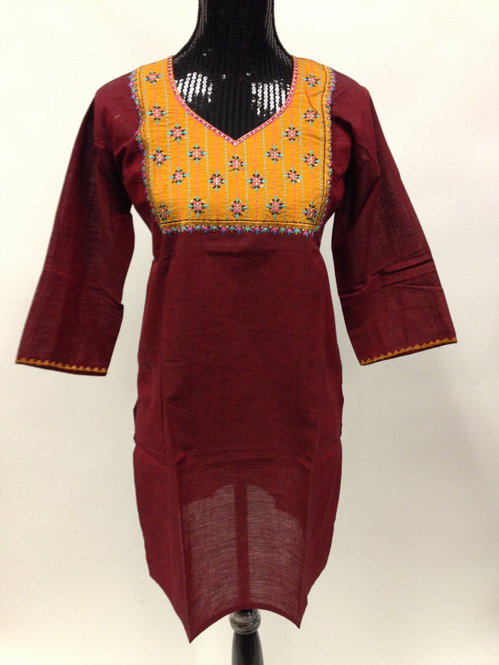 Cotton Long Kurta - Maroon