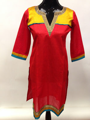 Silk Long Kurta - Red - Sarang