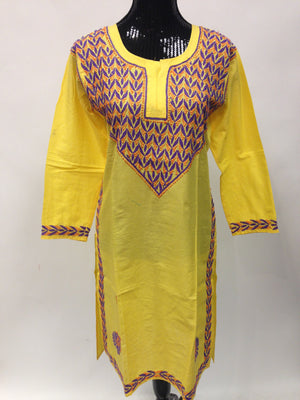 Lucknowi Chikankari Long Kurti - Yellow - Sarang