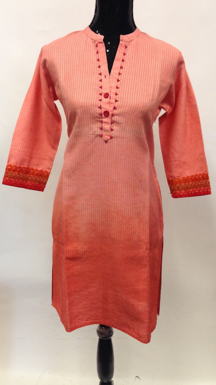 Long Cotton Kurta-Orangne