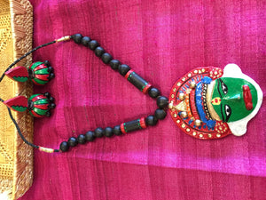 Unique Kathakali Face DesignTerracotta Necklace Set/ Clay Jewelry Set - Multi Color - Sarang