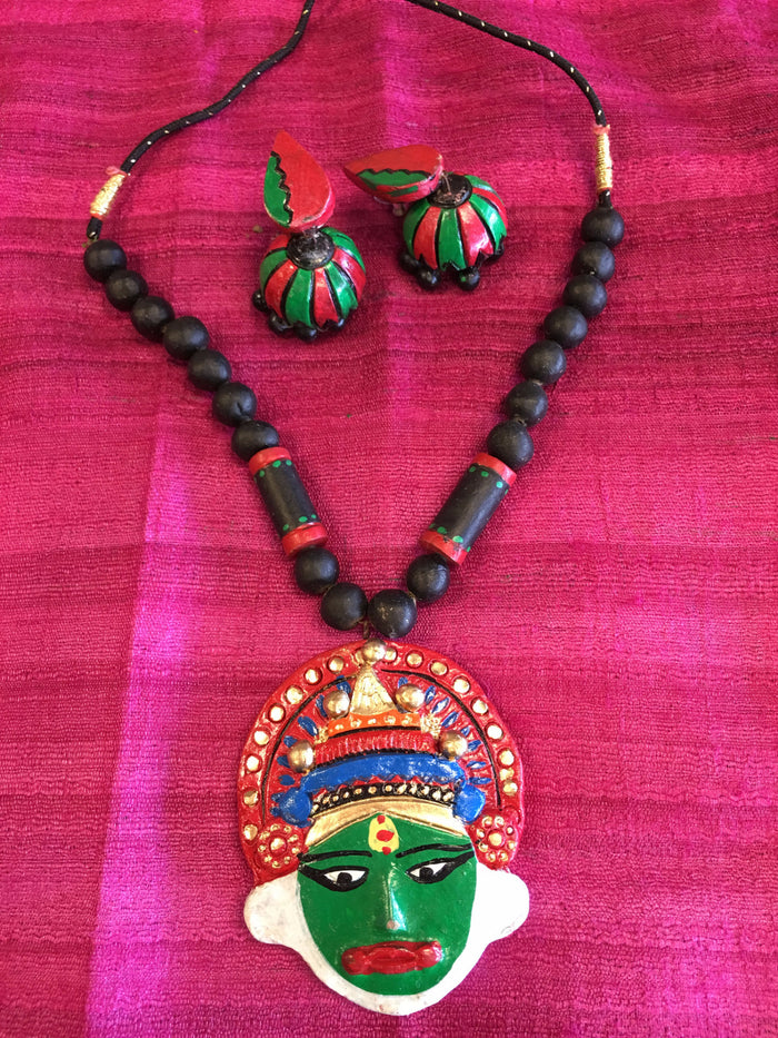 Unique Kathakali Face DesignTerracotta Necklace Set/ Clay Jewelry Set - Multi Color