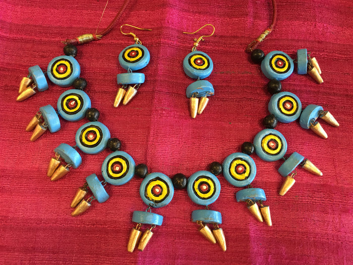 Antique Handmade Terracotta Necklace Set/Indian Terracotta set/Clay Jewelry - Blue