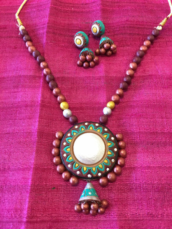 Terracotta Necklace Set/ Clay Indian Jewelry - Multi Color