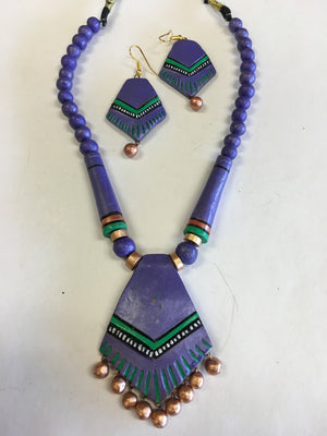 Terracotta Fashionable Necklace Set - Purple - Sarang