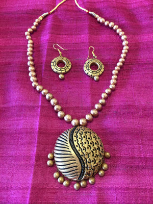 Ethnic Terracotta Jewelry/ Clay Jewelry  - Golden - Sarang