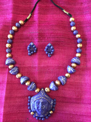 Antique Handmade Clay Terracotta Jewelry/ Ethnic Jewelry - Purple & Gold - Sarang
