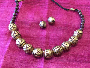 Handmade Terracotta/Clay Jewelry - Golden - Sarang