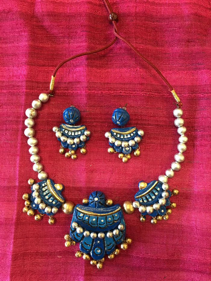 Handmade Terracotta Jewelry/ Clay Necklace Set - Blue & Silver