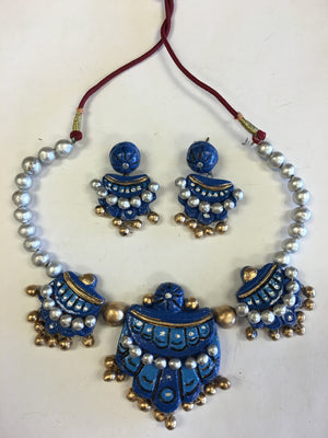 Handmade Terracotta Jewelry/ Clay Necklace Set - Blue & Silver - Sarang