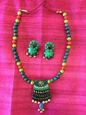 Ethnic Handmade Terracotta Jewelry, Clay Necklace Set - Green & Black - Sarang