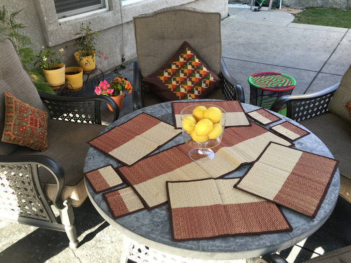 Woven table runner + table mats + coasters