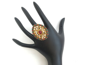 Bridal Indian Ring, Ethnic Ring, Traditional Ring - Golden - Sarang