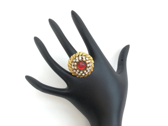 Gold Toned Traditional Indian Adjustable Ring