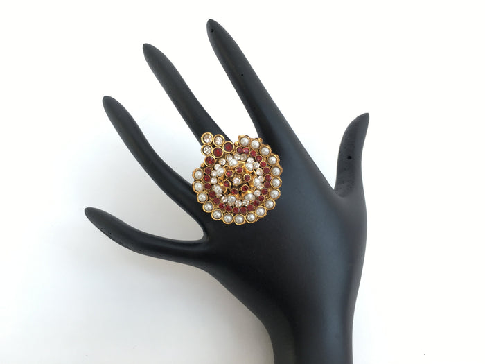 Gold Toned Indian Traditional Adjustable Ring