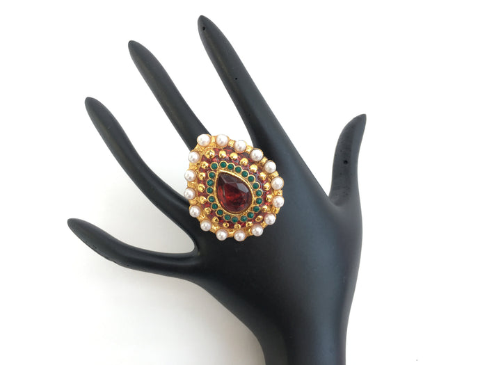 Gold Toned Adjustable Indian Traditional Ring