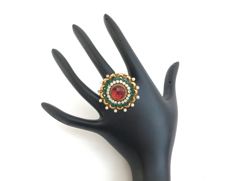 Indian Traditional Gold Tone Adjustable Ring - Sarang