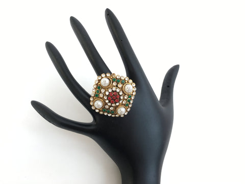 Square Design Ring with Pearls and Stones - Sarang