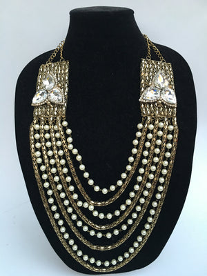 Long Pearl Necklace Set - Golden - Sarang