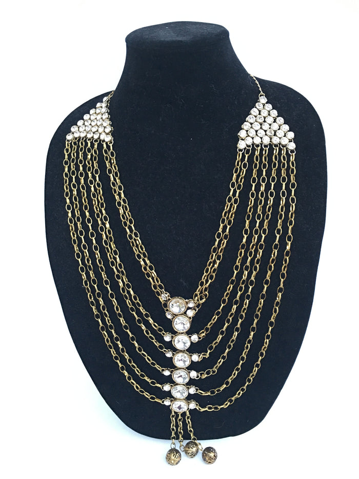 Fashionable Long Necklace - Golden
