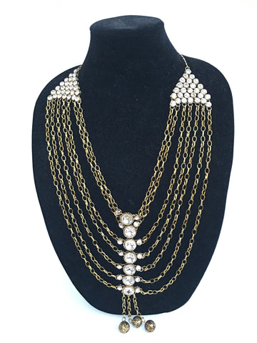 Fashionable Long Necklace - Golden - Sarang