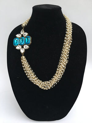 Long Pearl Necklace - White and Blue - Sarang