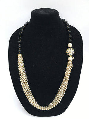 Rajasthani pedant and bead Necklace - Black